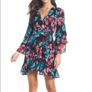 Black floral wrap mini dress
